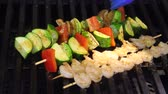 delicious grilled shrimps and veggies kebab skewers