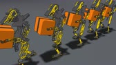 ügyes : Robot machines walking while carrying a box concept