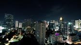 Bangkok business hotel area night time lapse.