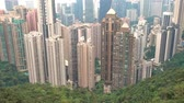 スカイライン : Hong Kong city top view with pollution and cloud 動画素材