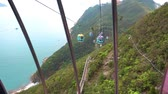 fantasztikus : Riding on Hong Kong Cable car on the south island of Hong Kong. Stock mozgókép