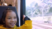 Asian girl is looking out the train windows while traveling