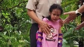 amor : injured Girl is crying after falling down from a Bike