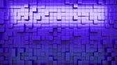 króm : 3D rendering. Blue extruded cubes. Abstract background. Loop.