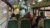 Inside coming on the road the bus with passengers Stock Footage