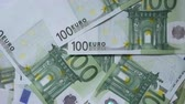 Euro Money. Green 100 Euro Banknotes Rotate