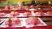 Phuket, Thailand- 27 August 2018 - Red flour turtle sweet cake for celebrate in traditional Chinese Hungry Ghost festival (Por Tor) yearly, write text on believe for  long life, rich and good fortune.