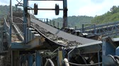 steel : Conveyor belt carrying mine Stock Footage