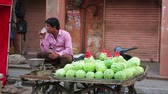 melão : JAIPUR, RAJASTHAN, INDIA - APRIL, 2013: Man selling watermelons in the street