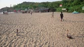 corner : GOA, INDIA - MARCH 2013: boys playing beach football Stock Footage