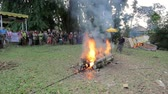 indonesia : BALI - MAY 2012: burning dead body in balinese funeral Stock Footage