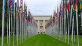 geneva : United Nations building with flags, Geneva, Switzerland, 4K