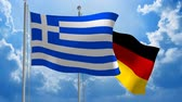 politics : Greece and Germany flags flying together for diplomatic talks, 3D animation