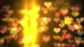 originality : colorful  background  with heart shaped bokeh and sparkles