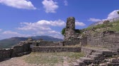 akropol : Pergamon, the ruins of an ancient city against a blue sky with white clouds, Turkey, Bergama