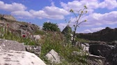 pilares : Beautiful colorful view of the ruins of the ancient city in spring, Bergama, Turkey Stock Footage