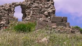 anatolia : Ruins of Pergamum in springtime, flowers among ruins,  Bergama, Turkey