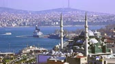 islam : View of the Bosphorus, Turkey, Istanbul Stok Video