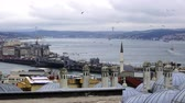 estambul : Vista de Golden Horn Bay y el puente de Galata, Turquía, Estambul Archivo de Video