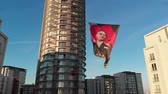Istanbul, Turkey - October 29, 2018: Portrait of the first Turkish President Mustafa Kemal Ataturk on a banner on a city street on a national holiday - Day of the Republic (Cumhuriyet Bayramı) Dostupné videozáznamy