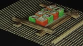 chess board : Sushi roll on wooden frame loop