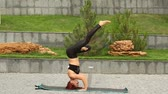 zen like : Beautiful girl doing yoga in the park