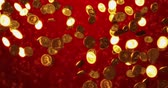 economy : Vintage golden coins. Business and finance concept background. 3D rendering Stock Footage
