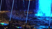 garden center : Blue colored fountain jets, spray and blue lights