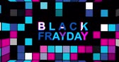 パンフレット : Black Friday advertisement with neon sign background 4k animation seamless loop