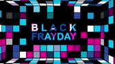 パンフレット : Black Friday advertisement with neon sign background HD animation seamless loop 動画素材