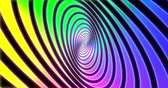 Abstracts rainbow spiral psihodelic tunnel background. Seamless loop 4k animation. Virtual reality future design 3d render.