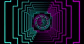 Abstract neon flying geometric tunnel with Sri Yantra Mandala. Seamless loop 4k background. Futuristic corridor with Neon Lights. Virtual reality design 3d render. Beautiful mandala pattern for Diwali 動画素材