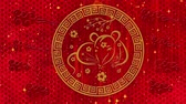 bem : Lunar New Year, Spring Festival red background with rat, fireworks, glittering stars and sakura flowers. Chinese new year animation for wealth, happiness, luck. 3D rendering seamless loop 4k video.