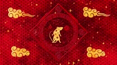 sıçan : Red Chinese New Year background with gold, rat, fireworks, 3D rendering loop 4k. Magical Happy new year animation. Stok Video