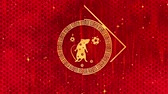 egér : Red Chinese New Year background with gold, rat, fireworks, 3D rendering loop 4k. Magical Happy new year animation. Stock mozgókép