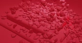 Red glamor falling polygonal hearts. Valentines Day. event background. 3D rendering loopable animation 4k