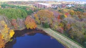 yaprak döken : Aerial: Taking surrounded by fall foliage pond in multirotor  13  October 21, 2015 to the shooting in Japan of a Forest Park  Autumn leaves and pond blue sky and clouds bleeds through. Stok Video