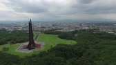 sapporo : Aerial view of blue sky and white clouds, green and urban landscape and multicopter