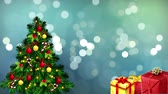white spherical particles with Christmas tree and gift