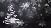 Christmas tree animation with falling leaves in black background Стоковые видеозаписи