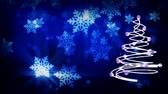 Christmas tree animation with blue falling leaves in black background