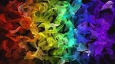 Rainbow color digital fractal flowing over black background. Colorful cloud particles
