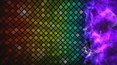 Abstract mosaic rainbow colored glowing squares with lights and black background. Bright video for your disco night design. Vídeos