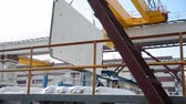 cantaria : Gantry crane with a stove outdoors in winter