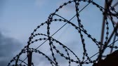 farpado : Barbed wire at the top of fence against the black, gloomy, dark sky with clouds.
