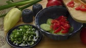 spring onion : Spring salad with tomato, cucumber and onion