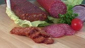 fumado : Sausage of salami on a cutting board