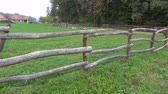 rancho : Rural wooden fence. Old farm Stock Footage