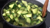 kaynama : Cooking zucchini. Boiled vegetables for a healthy diet.