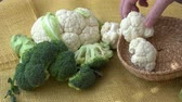 カリフラワー : Fresh organic cauliflower and broccoli 動画素材